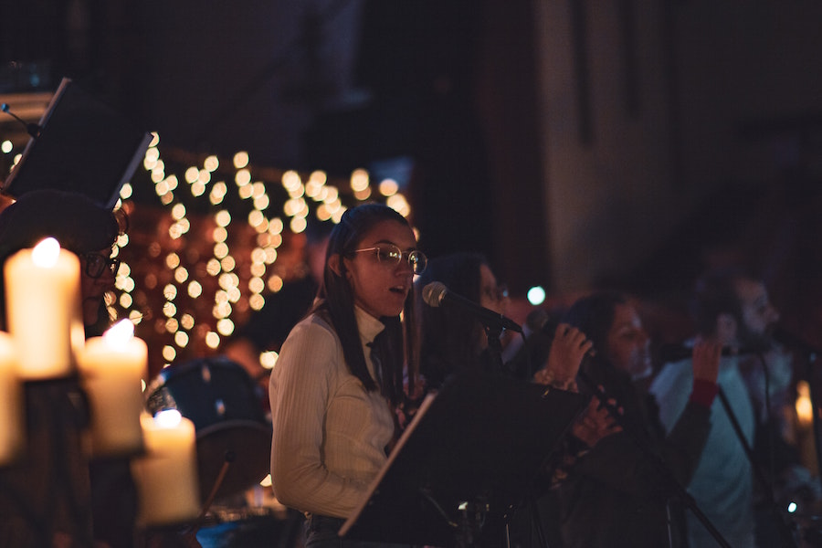 Woman singing at Central Ohio holiday events concert