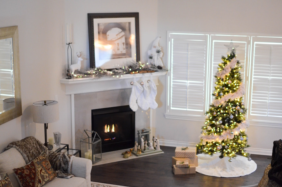 Living room staging for the holidays