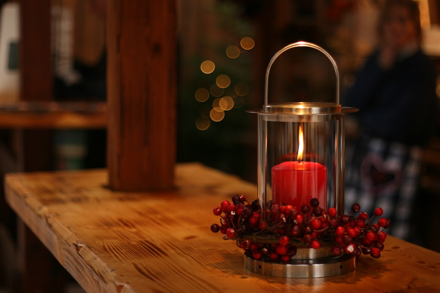 Candle with garland