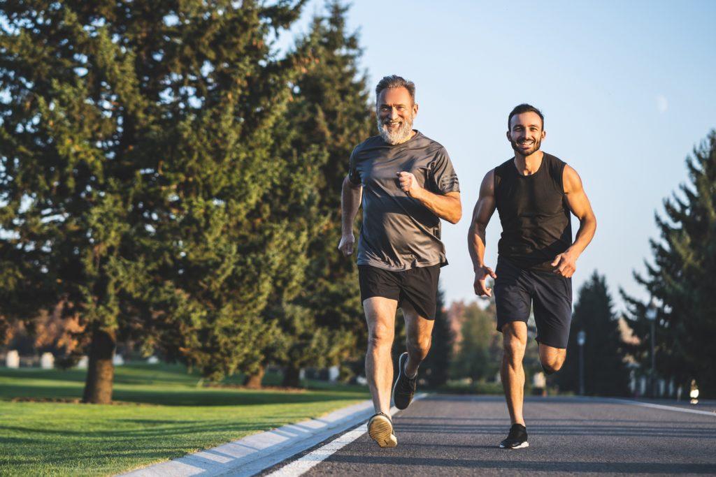 Men running a marathon on Father's Day