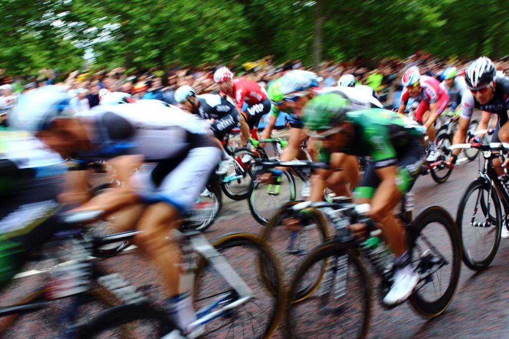 Biker's racing on the streets.