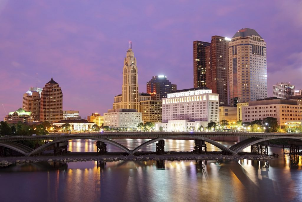 Downtown Columbus, Ohio skyline at sunset