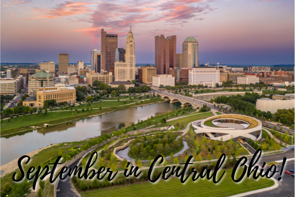 """Skyline of Downtown Columbus from the Scioto River at Sunset with text, """"September in Central Ohio"""""""