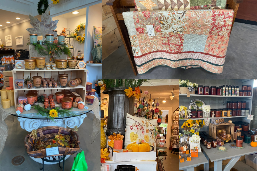 Collage of candles, quilts, and pillows sold at Hendren Farm Market and Oakland INSIDE & OUT Garden and Gifts