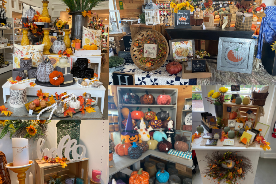 Collage of fall decor items and knick knacks sold at Hendren Farm Market and Oakland INSIDE & OUT Garden and Gifts