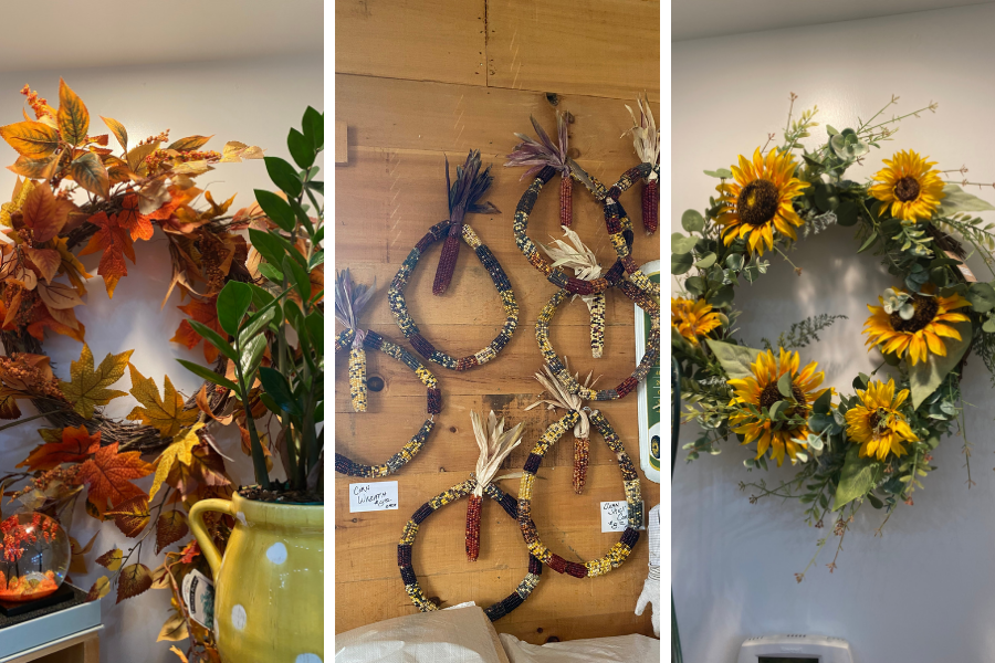 Collage of outdoor fall wreaths sold at Hendren Farm Market and Oakland INSIDE & OUT Garden and Gifts